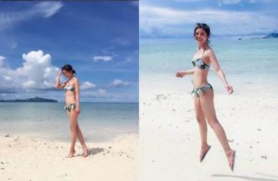 蔡卓妍解放好身材,辣晒比基尼照。