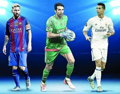 左起为梅西、布丰和C罗纳多。