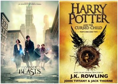 电影《怪兽与它们的产地》(左)及畅销书《哈利波特与受诅咒的孩子》(右)。