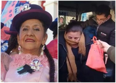 碧拉儿(左)遭女儿遗弃在殡仪馆;她的亲人被警方拘捕(右图)。