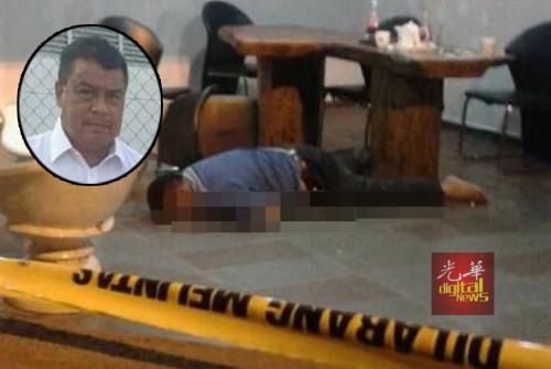 副警长阿布哈欣依斯迈昨晚被人开枪击毙后伏倒在地上。(图片取自Metro网站)
