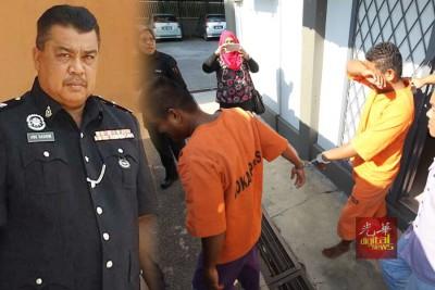 警方通缉的两名嫌犯到古邦巴素县警局自首。