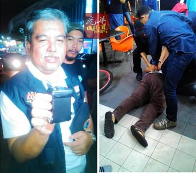 (左)韩拉向记者出示便携式辐射检测和识别仪器。(右)一度拒绝开门的男子,被破门而入的警察反手捆绑。