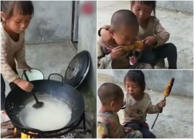 女童独自照顾弟弟,煲粥及烧粟米给弟弟吃。