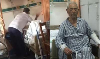 男子在病房内打及掌掴年老父亲。