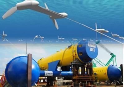 放入海中的实验机,涡轮受黑潮洋流推动成功发电。