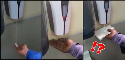 白人(希冀左)胜利使用洗手液机,然而黑人(中)可不能任何对。(希冀右)洗手液机向白色纸巾释出洗手液。