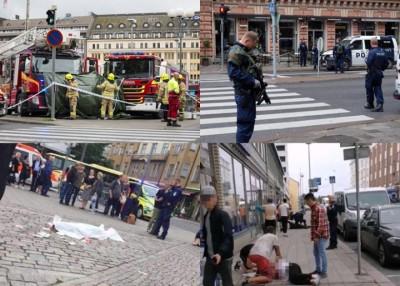 案发后警方封锁现场,途人也协助处理伤者。