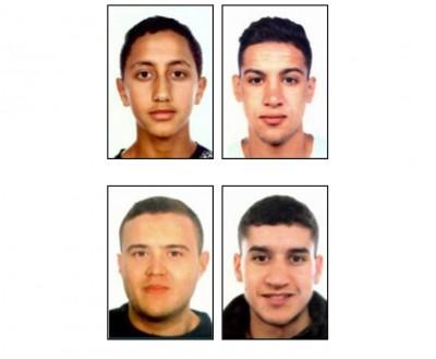 穆萨(左上)、阿莱拉(右上)和希沙米(左下)让击毙;阿布雅布(右下)在逃。(法新社照片)