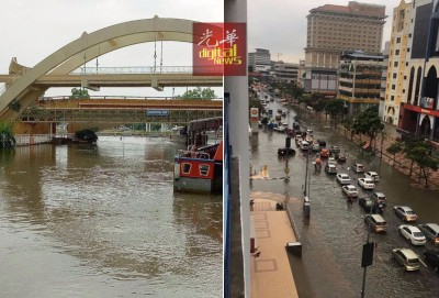 (左)古城的游船河活动也因为河水过高,船只无法穿过桥底而暂停营业。(右)汉都亚路路面积水,车辆缓缓驶过。