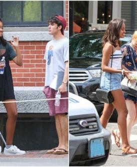 玛丽亚(左图中及右图左)与其他宿舍生外出消遣。