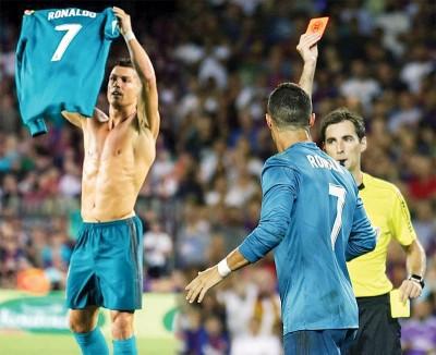 (左)C罗晒出7号球衣回击梅西。(右)C罗被红牌罚下场。