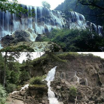 诺日朗瀑布昔日底得意态,同今日垮塌的景色,于人看了泪水都快掉下来了。