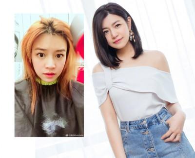 陈妍希染了一头亮橘发色。