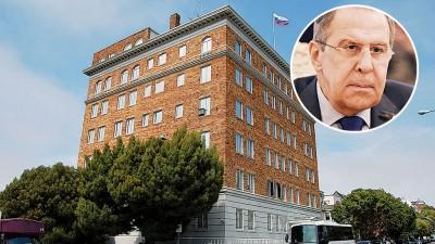 美国下令关闭俄罗斯驻三藩市总领事馆。拉夫罗夫(小图)对美国的决定表示遗憾。(法新社照片)