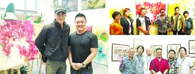 翰翚于2011年在中国海南岛办个人画展,左图为艺人任达华到场参观时与他合影。