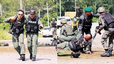 袭击中大多名军警受伤。