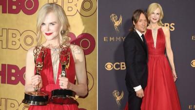 妮歌洁曼坐《美心计》首度拿下艾美奖视后奖座。妮歌洁曼平袭大红色开胸礼服被多媒体评选也红毯最美之一。