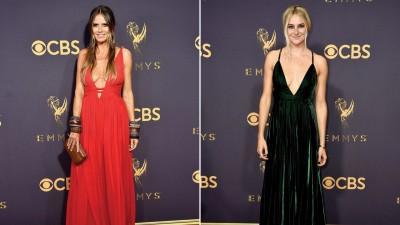 (左)超模海蒂克隆以低胸绑带礼服爆乳现身。(右)洗琳伍德之墨绿色深V洋装登上红毯。
