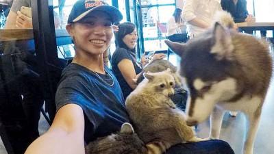 戴资颖(左)与教练和亲友抽空光顾韩国一家宠物主题咖啡店时,开心自拍。