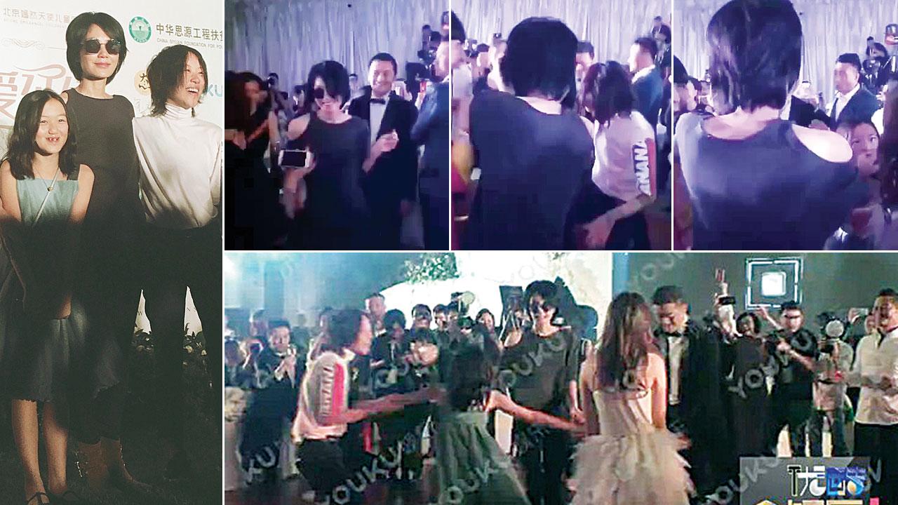 王菲(中)与女儿李嫣(左)、窦靖童出席嫣然天使慈善晚宴。王菲难得放下高冷身段,舞池上和女儿、前夫跳舞。