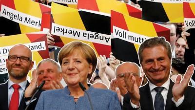 执政12年的默克尔(中)确定连任德国总理,完成四联霸。(法新社照片)