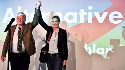 另类选择党跃居成第3大政治力量。(法新社照片)