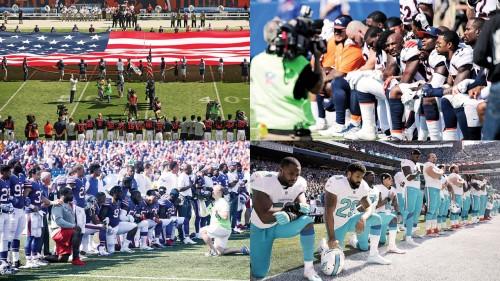 上百名NFL球员在比赛唱国歌时单膝跪地抗议美国总统特朗普。
