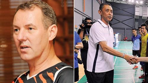 (左)弗洛斯特在未来三个月打造青训大蓝图之后才离队。由米斯本(右)掌管的国羽男单组,预料继续迎来刻苦训练以追上国际前列水准。(档案照)