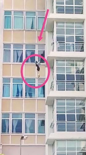 33岁华裔女子从医院高处跃下企图自杀过程被民众摄下,上载脸书。