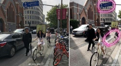 Angelababy逆向骑乘自行车,冏遭公遭抓包。
