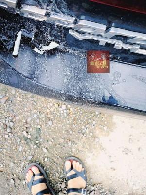 黑色本田雅廓在Aman Central中环商业广场停车场被泼硫酸。