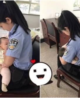 郝利娜见到被告的孩子因肚饿而大哭,毅然解衣喂奶。(网上图片
