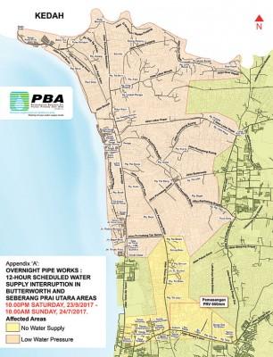 受影响地区地图。