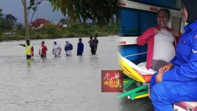 (左)28岁孕妇西蒂诺莎菲拉,家里面对水灾之际,肚子又感到不舒服,于是在民防部队协助下,挺着大肚子涉水越过灾区。(右)西蒂诺莎菲拉随后乘搭民防部队救伤车到爪夷芭诊疗所检查。