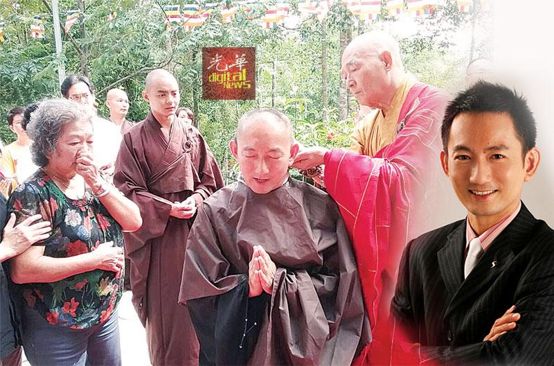 慧海法师为刘子贤剃度出家,左为其母亲眼泛泪光看着爱子落发。