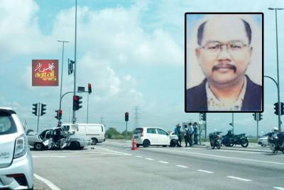 车祸发生在甲抛峇底前往双溪浮油十字路口。(小图)死者陈永光。