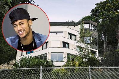 巴西球星内马尔(小图)在巴黎市西部郊区住的5层的豪华别墅每月租金2万欧元。