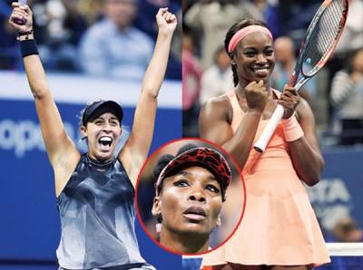 大威(小图)止步4强一脸落寞跟凯斯(左)与斯蒂文斯(右)兴奋庆祝打进决赛成强烈对比。