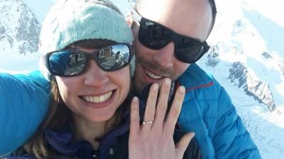 两人去年8月结婚后,不时结伴到各处攀山