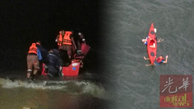 消拯员接报后,昨晚连夜出海展开搜救工作。2名坠海的华裔中年在海上漂浮一夜后,今早7时成功获救。