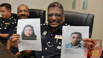 慕努沙米(左二)向媒体出示嫌犯的肖像。