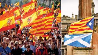 (左)在巴塞罗那,大批示威者挥舞西班牙国旗和加泰隆尼亚旗帜,反对加泰隆尼亚独立。(右)苏格兰民族党支持者将苏格兰和加泰隆尼亚旗帜放在一起,支持加泰隆尼亚独立。(法新社照片)