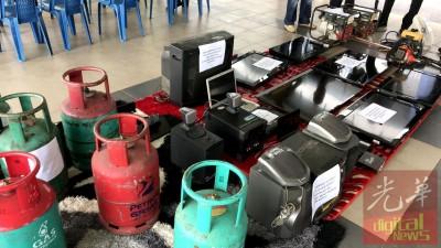 警署所起获到煤气桶、各项电子产品等。