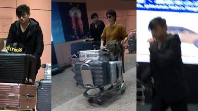 """吴奇隆被直击带着刘诗诗现身机场,小俩口低调返台。吴奇隆手比""""嘘"""",示意民众不要拍照。"""