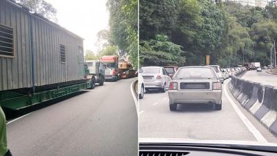 一辆载着神手的大卡车在路段抛锚后,导致另一辆从直落巴巷前往市区方向的大卡车,也无法下山。从丹绒武雅前往直落巴巷的方向严重大塞车。
