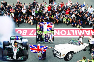 汉密尔顿以及母亲与车队庆祝F1四冠上霸业。