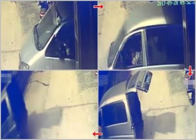 肇事轿车突然溜前,坐在车内的男童连人带车冲落河道。