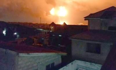 天然气站爆炸产生巨大火焰蘑菇云。