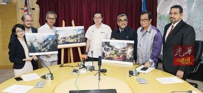 槟城红灯角艺术区计划记者会,左二自李战胜、潘俭伟、林冠英、阿都玛力、罗斯里。、